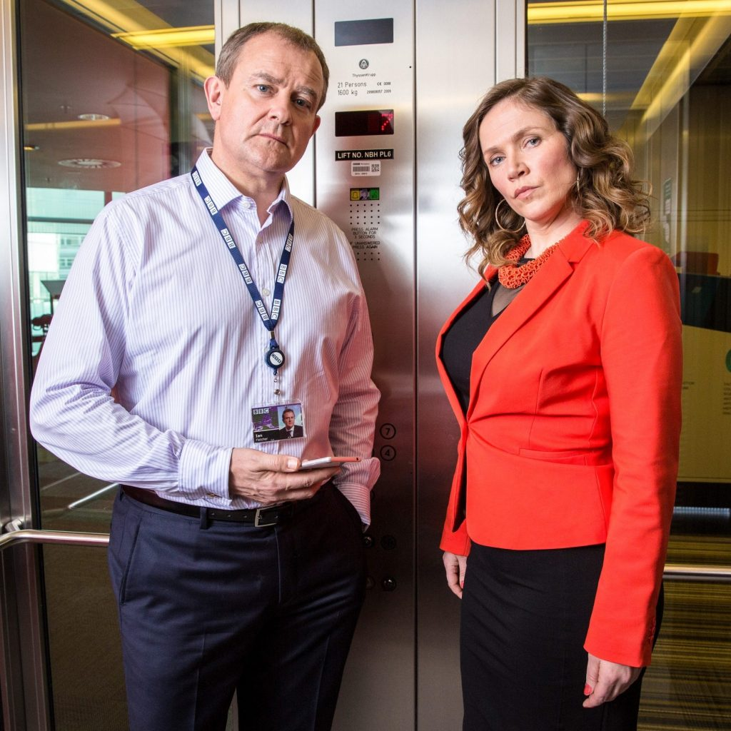 Two fictional TV characters who talked in endless PR, marketing and management jargon.