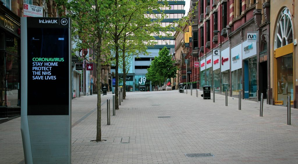 Empty streets of Leeds during Covid-19 pandemic